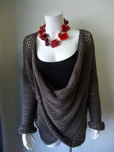 Elegant LOw low cowl neckline paid pattern Jenny King This pattern uses British Crochet Terminology.....really just version of twist in fron vest or cardi.....