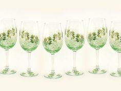 Hand Painted Bridesmaids Wine Glasses by HandPaintedPetals