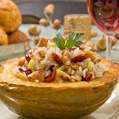 Acorn Squash with WalnutApple Basmati Pilaf | Dashrecipes.com