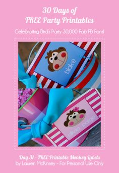 Birds Party Blog: 34 Days of FREE Party Printables: Day 31 - Monkey Themed Party Tags by Lauren McKinsey