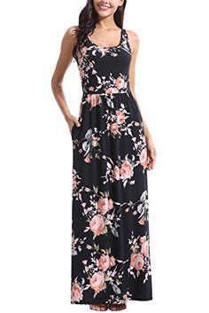 edcd2c1bf3a6 Zattcas Women Floral Tank Maxi Dress Pocket Sleeveless Casual Summer Long  Dress