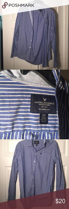 AE button up NWOT Blue and white striped long sleeved button up. Never worn. Size small. Perfect condition!! This is a men's shirt but I got it for myself just never got an opportunity to wear it American Eagle Outfitters Tops Button Down Shirts