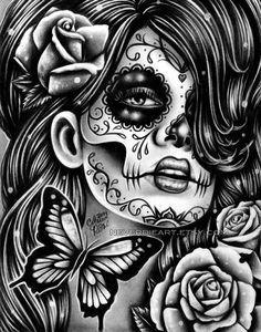 ORIGINAL DRAWING Epiphany 9x12 in Pencil Drawing by Carissa Rose Day of the Dead Butterflies Sugar Skull Dia De Los Muertos Art