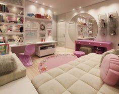 Pink And White Mod-Modern Bedroom