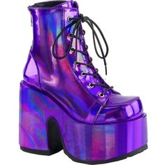 Women's Demonia Camel-203 Platform Ankle Boot Purple Hologram (335 RON) ❤ liked on Polyvore featuring shoes, boots, ankle booties, booties, lace-up bootie, lace up chunky heel booties, lace-up platform boots, chunky heel platform boots and platform ankle boots