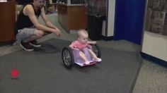 """""""To see her in it, it brings life to my day."""" From @cbcnews: This paralyzed Edmonton toddler is a whiz in her homemade wheelchair. Just like other children learn to crawl, Evelyn has slowly figured out how to wheel. Follow the link in our bio to find out more. #Edmonton #health #wheelchair"""