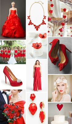 Bright red and white color inspiration for your wedding