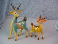 Vintage Celluloid Christmas Deer Two Made In Japan