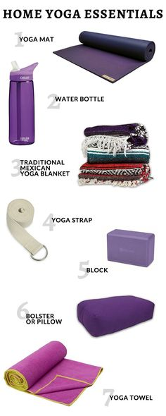 Sharing all of my home yoga essentials... everything from yoga mats and water bottles to bolsters and towels. Click to see what you should have on hand! http://www.laurenliveshealthy.com/home-yoga-essentials/
