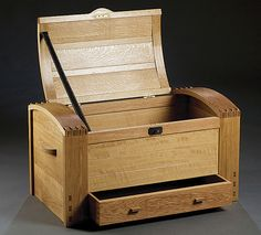 White oak chest is adapted from an 1898 chest by the English Arts and Crafts furniture maker Sidney Barnsley.