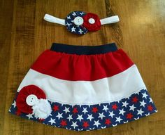 Fourth of July Patriotic kids/infant/toddler/baby/newborn skirt with matching headband. (12.00 USD) by KWKnitandCrochet
