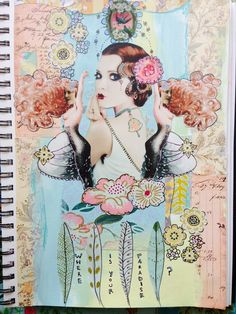 Holly Loves Art ~ mixed media collage, vintage girl, painting, art, #the100dayproject