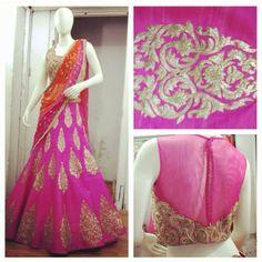 Colorful lehenga, pink and orange lehenga. Anyone know the design Indian Attire, Indian Ethnic Wear, Blouse Patterns, Blouse Designs, Indian Dresses, Indian Outfits, Saris Indios, Pink Half Sarees, Orange Lehenga