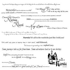 Walk through the wardrobe...or just put the decals on the wardrobe! This collection of quotes from C.S. Lewis' Chronicles of Narnia will add a touch of magic and wonder to any room. Each quote comes a