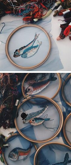 Fish embroidery on tulle // hoop art // modern craft
