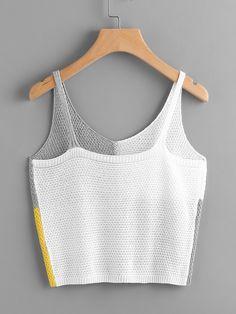 Color Block Knit Tank Top for Sale Australia Crochet Crop Top, Knitted Tank Top, Crochet Bikini, Mode Crochet, Knit Crochet, Looks Style, Knitting Designs, Top Pattern, Crochet Clothes