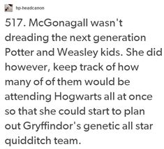 McGonagall and Potter and Weasley kids