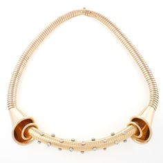 Fine French Retro Diamond and 18 kt Tube Gas Necklace.  Available exclusively at Macklowe Gallery.