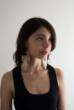 Extra large brass Manhattan Statement Earrings by SonjaRoseB, $256.00