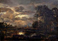 aert van der neer moonlit landscape with bridge - Google Search