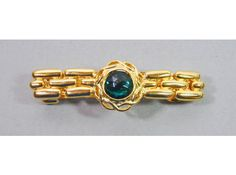1980s Gold Plated Metal With Emerald Green Lucite Cabochon Hair Barrette Hair Clip