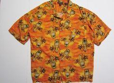 Wrecked Premium Pilsner Palm Trees Hawaiian Shirt Size 3X Orange Rayon George #George #Hawaiian