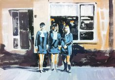 three dresses -   painting by Cécile Vrinten - SOLD