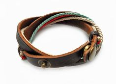 Fashion jewelry bangle bracelet women bracelet girl bracelet men Bracelet made of colorful ropes and brown leather Bracelet SH-0348 on Etsy, $5.00
