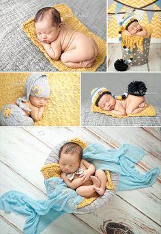 Newborn boy yellow, gray, and blue  |  Bella Rose Portraits Newborn Photography Photographer posing