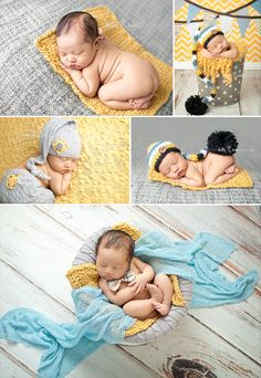 Newborn boy yellow, gray, and blue | Bella Rose Portraits Newborn Photography Photographer posing