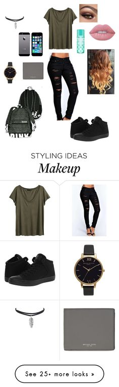 """back to school "" by canyoujustnot on Polyvore featuring Boohoo, H&M, Converse, Olivia Burton, Lime Crime, FingerPrint Jewellry and Michael Kors"
