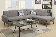 Poundex 2-Pcs Sectional Sofa F6953Description :An uptown state of mind, this 2-piece sectional is for the hipster with a unique sense of style. Tightly upholstered with accent tufting on the back supports, this sectional also features a chaise and accent pillows. Available in bonded leather (espresso)or polyfiber (grey, ash black or laguna). (Table Optional)Materials:Polyfiber: Grey Particle BoardPine WoodWooden legDimension:Chaise : 80