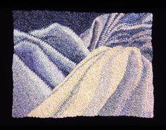 Elizabeth Tuttle, Draped Surface No. 2; Crocheted cotton sewing thread 9 x 12 inches, 1980 to 1983 #neutralcolor #blue #cooltone #crochet #art #fineart #fiberart #fibreart #textile #textileart #domesticlife #domesticart #conceptualart #design #opticalillusion Cool Tones, Conceptual Art, Optical Illusions, Textile Art, Neutral Colors, Fiber Art, Pattern Design, Textiles, Blanket