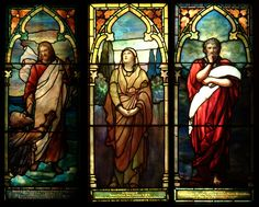 Three of the exquisite Tiffany windows in St. Peter' Chapel, Mare Island