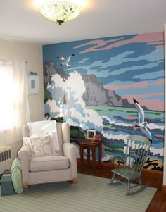 Paint-by-number wall mural