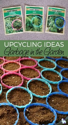Upcycling is good for the planet and pocketbook! Look at all these fun ways to use garbage in the garden! #upcycle #repurpose #diy #crafts #garden #gardening