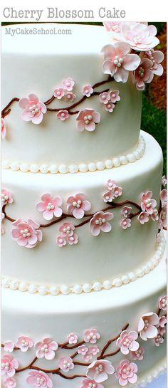 Elegant Cherry Blossom Cake Tutorial! Member Cake Decorating Video Tutorial by http://MyCakeSchool.com - Online Cake Decorating Tutorials, Videos, & Recipes!
