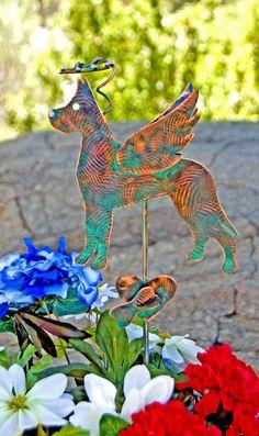 Great Dane Angel Pet Memorial Metal Garden Art Stake, Copper Garden Art, Memorial Dog Outdoor Sculpture, Pet Garden Sign, Garden Stake,