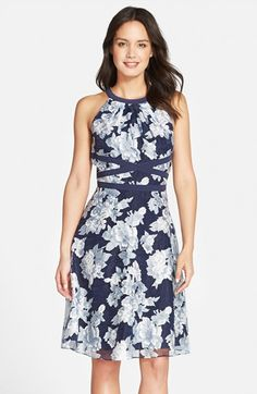 Adrianna Papell Floral Organza Fit & Flare Dress available at #Nordstrom