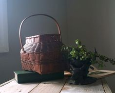 Antique Painted Splint Basket Vintage Splint Basket by 5gardenias
