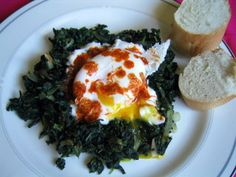 Spinach with Yogurt and Poached Eggs - Turkish Food
