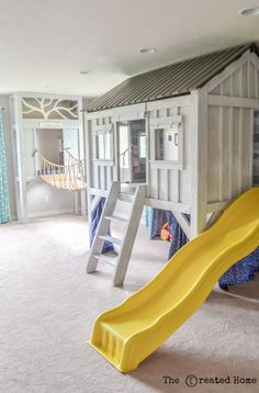 75 Creative Basement Playroom Design Ideas for Kids - roomodeling Garage Playroom, Indoor Playroom, Kids Basement, Playroom Slide, Kids Indoor Playhouse, Kid Playroom, Basement Plans, Basement Renovations, Basement Ideas
