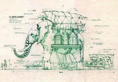 Machine of the isles of Nantes - Nantes mechanical elephant - Nantes steampunk Elephant Nantes, Da Vinci Inventions, Nantes France, Kino Film, Patent Drawing, Mechanical Design, Amusement Park, Illustrations Posters, Concept Art
