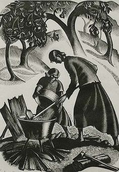 """Apple Butter - CLARE LEIGHTON American, (1899-1989)Wood engraving, 1942, Boston Public Library 523, edition 50. 7 1/2 x 5 1/4 in. Signed, numbered and titled in pencil. Beautifully designed, this print is from the series """"Southern Harvest"""" which was published in book form in 1942 by the Macmillan Co, New York."""