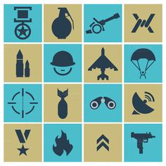 war icons. vector illustration by pashigorov shop on Creative Market