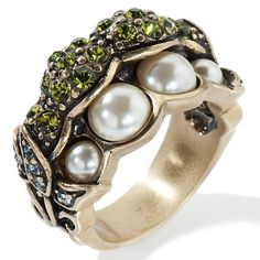 Heidi Daus Pea Pod Crystal-Accented Ring