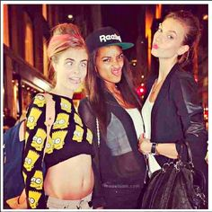 Cara Delevingne mugging with Jourdan Dunn and Karlie Kloss. #wmagSept 2013   Photo: courtesy of Cara Delevingne