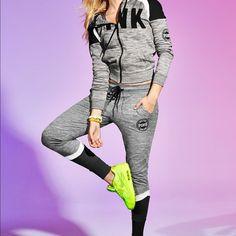 Medium PINK Full Zip Hoodie and Collegiate Pants Nwt PINK Victoria's Secret Sweaters