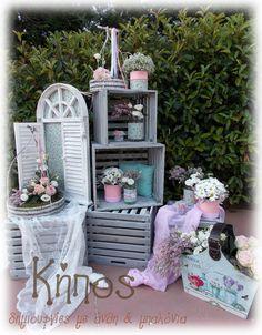 μεντα - ροζ βαφτιση Christening Decorations, Wedding Decorations, I Party, Wooden Boxes, Vintage Decor, Girl Birthday, Party Themes, Wedding Planner, Decorative Boxes