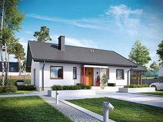 Projekt domu Kornel VI (z wiatą) energo - koszt budowy 165 tys. Style At Home, Bungalow Haus Design, House Design, Tiny House Loft, Bamboo House, Sims House, Facade House, Home Fashion, House Front